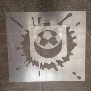 Трафарет в три слоя для нанесения фирменного логотипа на колонны подземного паркинга в городе Новосибирск